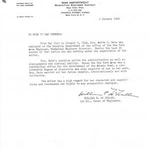 Letter of recommendation for Katz written by Manhattan Project engineer Lt. William McMullen.