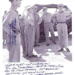 Frederick Ashworth and General Spaatz await the return of the Enola Gay. Courtesy of the Joseph Papalia Collection.
