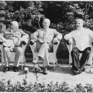 Winston Churchill, Harry Truman, and Joseph Stalin