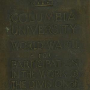 Plaque given to William F. Boudreau for his work on the Manhattan Project at Columbia University.
