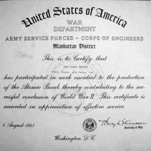 Ina Cooper's certificate from the War Department for her work on the Manhattan Project