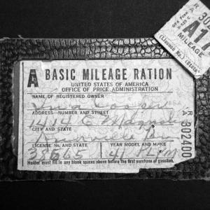 Ina Cooper's gas ration card