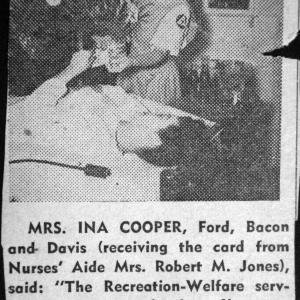 Newspaper clipping about Ina Cooper