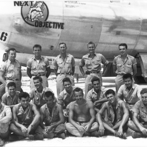 Crew A-3, Schwab is sitting in the bottom row, second to the left. Photo courtesy of Richard H. Campbell and the Janet Chapman Pence Collection from the Air Force Museum.