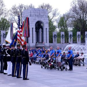 The honor guard at the ceremony honoring World War II veterans from Colorado and Utah.