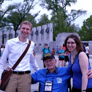 AHF Program Manager Nathaniel Weisenberg and Program Director Alexandra Levy with Ralph Gates.