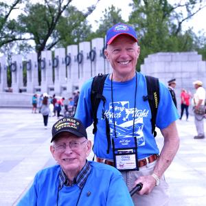 Ralph Gates and his Honor Flight guardian Craig Sherman. Each veteran has a guardian who accompanies him or her to DC.