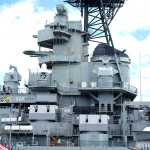 """The USS Missouri is nicknamed the """"Mighty Mo."""" The USS Missouri was commissioned in 1944 and fought in the battles of Iwo Jima and Okinawa. It was the site of the official Japanese surrender in World War II on September 2, 1945. It also fought in the Kore"""
