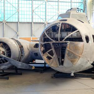 A B-17 under restoration at the Pacific Aviation Museum.