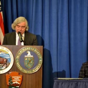 Secretaries Ernie Moniz and Sally Jewell at the signing ceremony