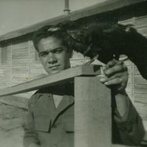 Felix DePaula with a pet crow at the Trinity Site. Photograph courtesy of Willie Atencio and David Schiferl.