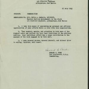 Letter of commendation for Felix DePaula. Courtesy of Willie Atencio and David Schiferl.