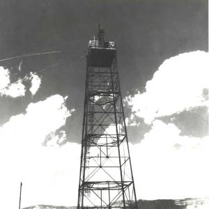 Gadget on Trinity tower, July 15, 1945