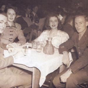 Lt. Anderson, Dolly Fisher, Lucille Hamer and Ralph Gates (Christmas 1945)