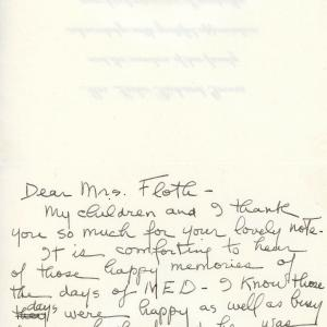 Letter from Grace Groves to Esther after General Groves's death