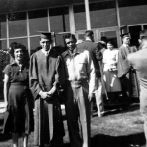 Dimas Chavez graduating from high school in 1955, with his mother and father