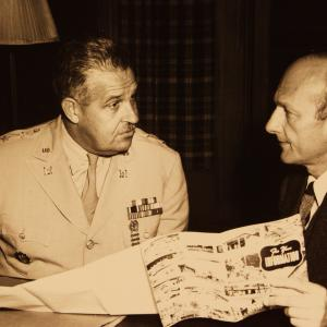 General Groves and David Lilienthal discussing the transfer of atomic energy affairs to the AEC