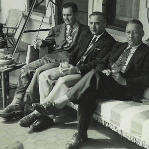 Major Riley (leftmost on bench) and Matthias in Brazil.