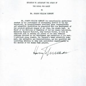 Joseph W. Kennedy Medal of Merit Citation by President Harry Truman