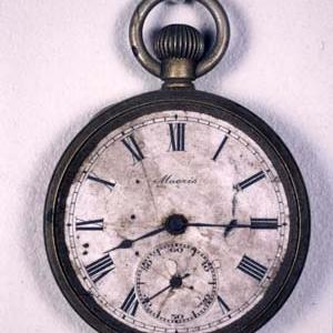 A pocket watch from Hiroshima, stopped at time the bomb detonated