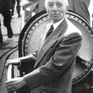 Hyman Rickover inspecting the USS Nautilus, the first nuclear-powered submarine, in 1954