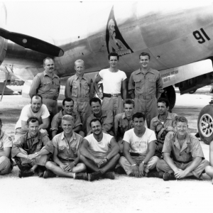 C-14 Crew on Tinian. Ray is standing in the top row, third from the left. Photo courtesy of Richard H. Campbell and the Janet Chapman Pence Collection from the Air Force Museum.