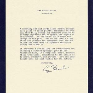 Apology Letter from President Bush, 1990
