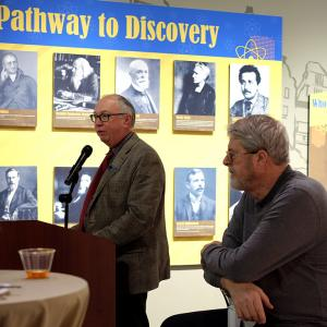 National Museum of Nuclear Science and History Executive Director Jim Walther and Jim Sanborn