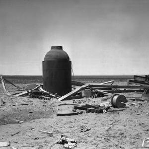 Jumbo and collapsed tower after the Trinity test