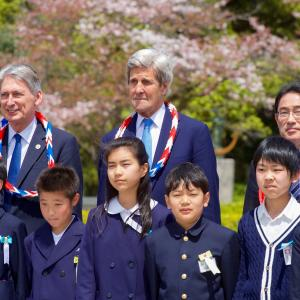Secretary Kerry and His G7 Counterparts Stand With School Children After Laying Wreaths at the Hiroshima Peace Memorial. Photo courtesy of the US State Department.