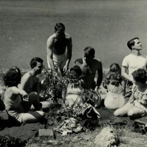Larry swimming with friends