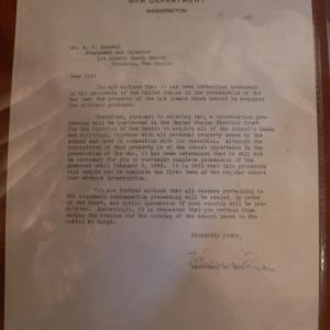 Los Alamos Ranch School seizure letter from the Secretary of War