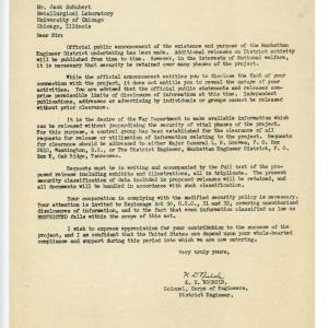 Letter from the Met Lab to Jack, sent in August 1945 by K.D. Nichols.