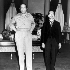Gen. Douglas MacArthur and Emperor Hirohito in 1945