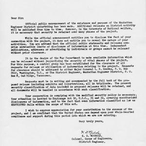 Memo from Col. Nichols on Atomic Bomb Drop, 1945