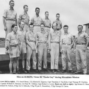 Men aboard the Enola Gay during the Hiroshima Mission