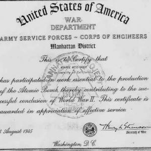 A certificate verifying Monroe Messinger's service to the Manhattan Project from Secretary of War Henry Stimson.