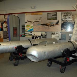 Two of the recovered Palomares bombs at the National Museum of Nuclear Science and History. Image courtesy of Marshall Astor/Wikimedia Commons.