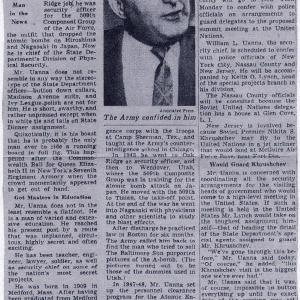 NYT article on Uanna - July 26, 1958