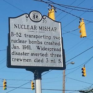 """Nuclear Mishap"" marker in Eureka, NC. Image courtesy of RJHaas/Wikimedia Commons."