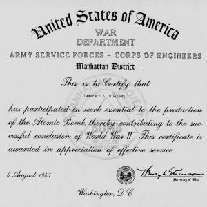 Certificate from the War Department for Larry O'Rourke