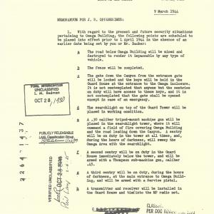 Site Y Security Measures Document, 3/1944, 1 of 2.