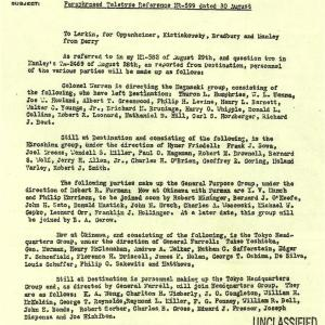 Parsons to Oppenheimer Document, mentions those tasked to the Japan Atomic Bomb Damage Survey teams.