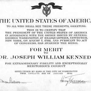 Joseph W. Kennedy's Medal for Merit Award Certificate