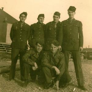 Hal Behl (left) and other SED members outside their barracks. Photograph courtesy of Hal Behl.