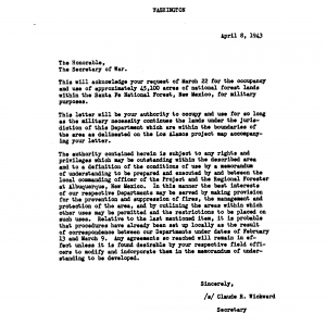 "The Secretary of Agriculture granting use of federal land for a ""demolition site"" at Los Alamos"