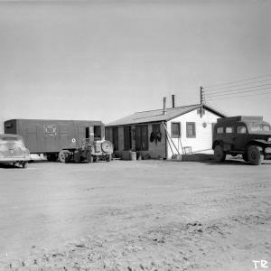 Showing Optics Group headquarters at MacDonald ranch, air-conditioned trailer at left was used for photographic processing