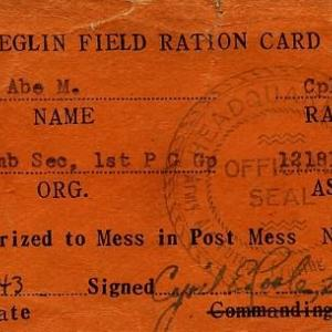 Eglin Field ration card for Abe Spitzer