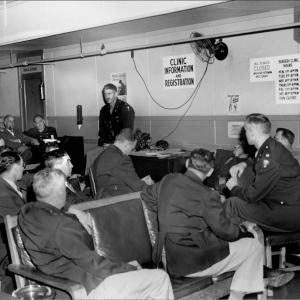 Stafford Warren at an Oak Ridge Hospital staff meeting in 1945