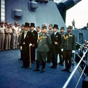 A color photo of the Japanese delegation for the surrender ceremony